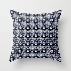 blue tile pattern VIII - Azulejos, Portuguese tiles Throw Pillow