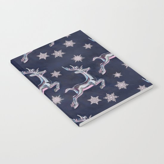 Silver Snowflakes & Happy Reindeer in Navy Blue & Pink Notebook