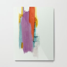 Aly: a colorful, minimal, abstract piece in bold purple, blue, orange, and yellow Metal Print