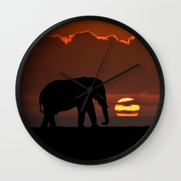 Elephant At Sunset Wall Clock