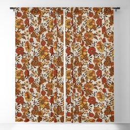 Retro 70s boho hippie orange flower power Blackout Curtain
