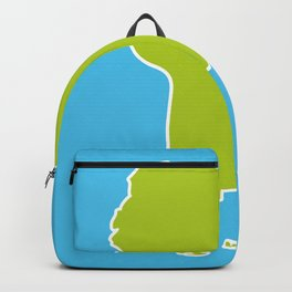 South America map blue ocean and green continent. Vector illustration Backpack
