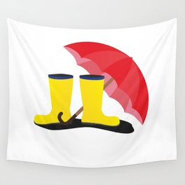 Rubber boots and umbrella   Wall Tapestry