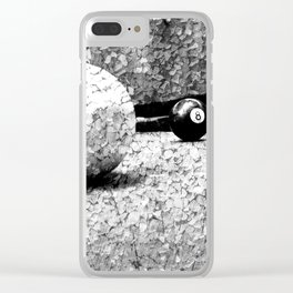 Billiards Art 4 Black and white Clear iPhone Case