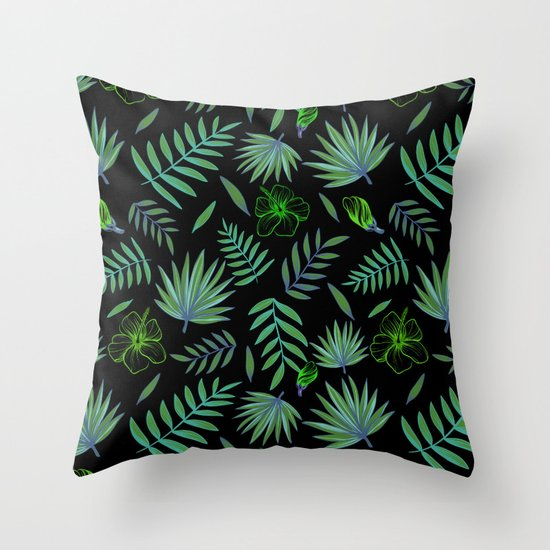 GREEN LEAVES PATTERN Throw Pillow by Magic Dreams Society6
