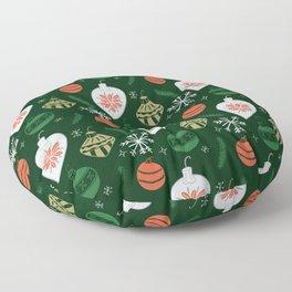 Retro Christmas Ornaments / Festive Holiday Tree / Snowflake / Mid Century Modern / Tree / Santa Floor Pillow