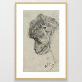 Kop van een aap, August Allebé, 1883 Framed Art Print
