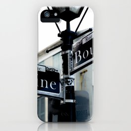 Dumaine and Bourbon - Street Sign in New Orleans French Quarter iPhone Case