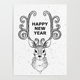 New Year's Eve Deer Christmas Holiday Poster