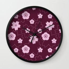 Sakura blossom - burgundy Wall Clock
