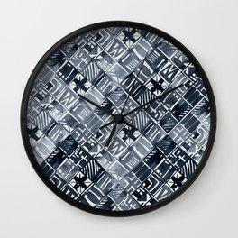Simply Tribal Tiles in Indigo Blue on Lunar Gray Wall Clock