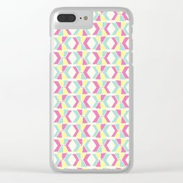 Magenta, Yellow, and Turquoise geometric hourglass pattern Clear iPhone Case