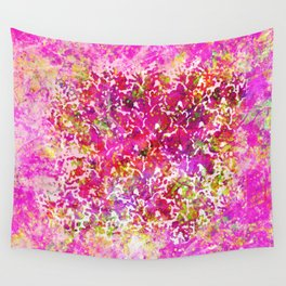 Fuchsia Watercolor Abstract Painting Boho Style Arabesque Wall Tapestry