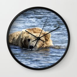 Brown Bear Cooling Off Wall Clock