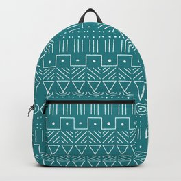 Mudcloth Style 1 in White on Teal Backpack