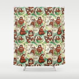 sloth in coffee pattern Shower Curtain