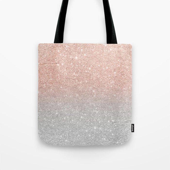 da99896a9 Modern trendy rose gold glitter ombre silver glitter Tote Bag by ...