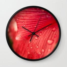 Red Poppy Petal Raindrops II Wall Clock