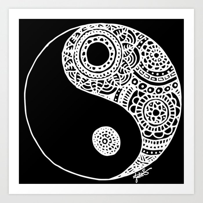 Black and white lace yin yang art print
