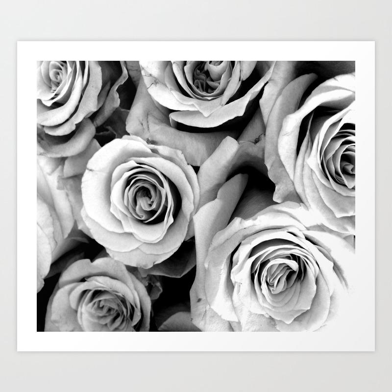 Black and white roses art print