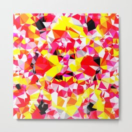 psychedelic geometric triangle polygon abstract pattern in red pink yellow Metal Print