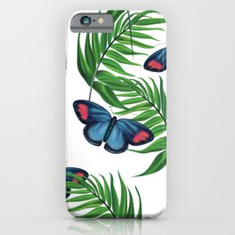 Green tropical leafs and blue butterflies pattern iPhone Case