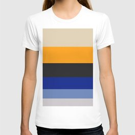 Complementary Blue & Yellow Colorful Geometric Pattern Colour Block Stripes T-shirt