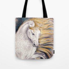 Andalusian Dapple Horse Watercolor Tote Bag