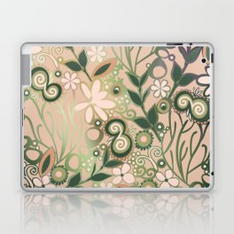 Detailed square of peach and green floral tangle Laptop & iPad Skin