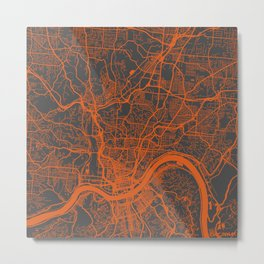 Cincinnati map orange Metal Print