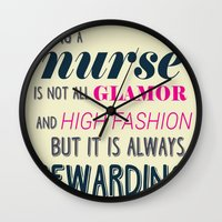 nurse Wall Clocks featuring NURSE by I Love Decor