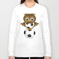 soccer Long Sleeve T-shirts featuring Soccer Owl by Simone Gatterwe
