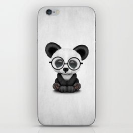 Cute Panda Bear Cub with Eye Glasses iPhone Skin