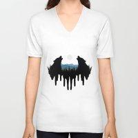 wolves V-neck T-shirts featuring Wolves by Viktor Macháček