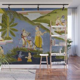Crossing the Ganges, Ramayana, Bala Kanda landscape painting Wall Mural