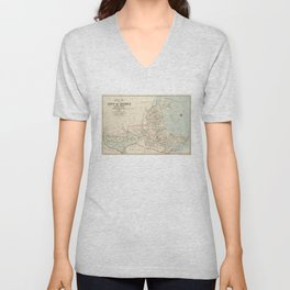 Vintage Map of Quincy MA (1907) Unisex V-Neck