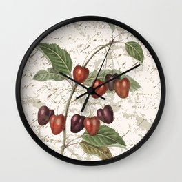 Vintage Botanical Cherry with Distressed Script Digital Collage Wall Clock