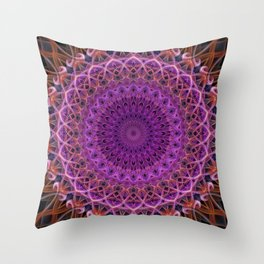 Violet and red mandala Throw Pillow