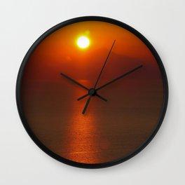 hazy sunset Wall Clock