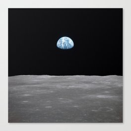 Earth rise over the Moon Canvas Print