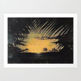 Hawaiian Sunset on Waikiki Beach Vintage Photo Art Print