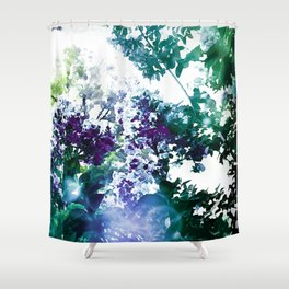 Watercolor Floral Teal Purple Green Shower Curtain