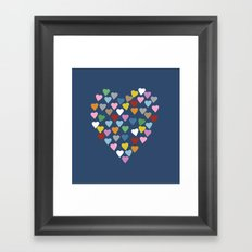 Hearts Heart Navy Framed Art Print