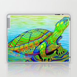Colorful Psychedelic Neon Painted Turtle Rainbow Turtle Laptop & iPad Skin