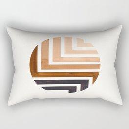 Raw Umber Circle Round Framed Mid Century Modern Aztec Geometric Pattern Maze Rectangular Pillow