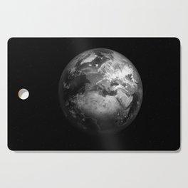 Earth in Space Black & White Cutting Board