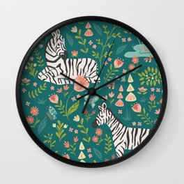 Wild Zebras in Green Garden Wall Clock