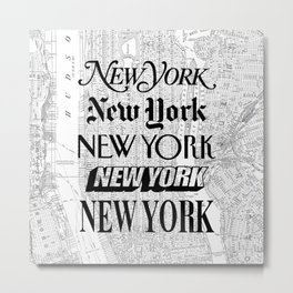 New York City black and white New York poster I love heart NYC Design black-white home wall decor Metal Print