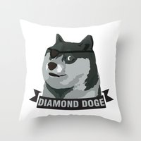 doge Throw Pillows featuring DIAMOND DOGE by MDRMDRMDR