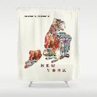 new york map Shower Curtains featuring new york map  by bri.buckley